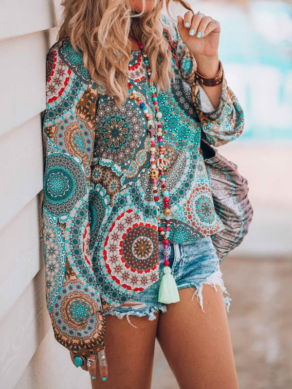 Blue Casual Floral-Print Chiffon Long Sleeve Shirts & Tops