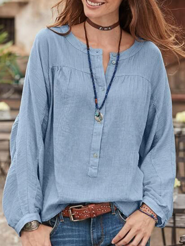 Women Blouse Buttoned Round Neck Long Sleeves Loose Tops