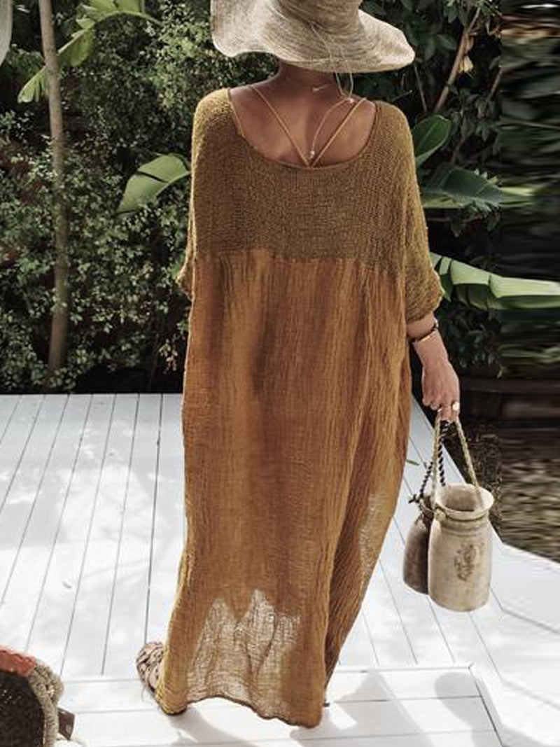 Coffee Half Sleeve V Neck Plain Cotton Dresses