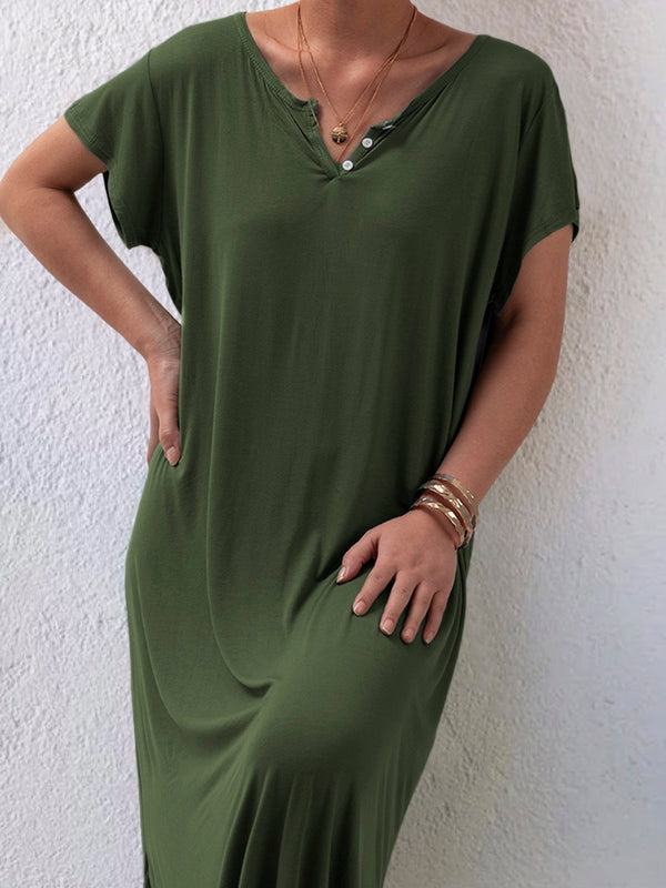 Women Plus Size Casual Solid V Neck Short Sleeve Dresses