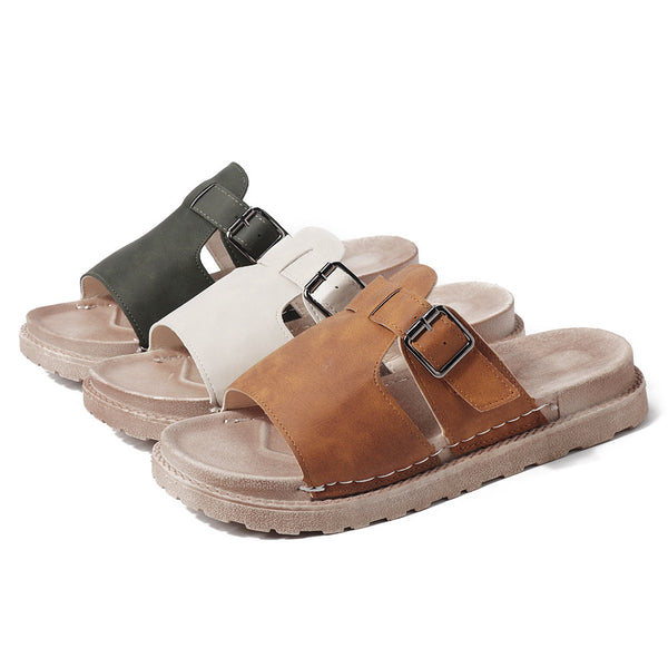 Buckle Artificial Leather Slippers