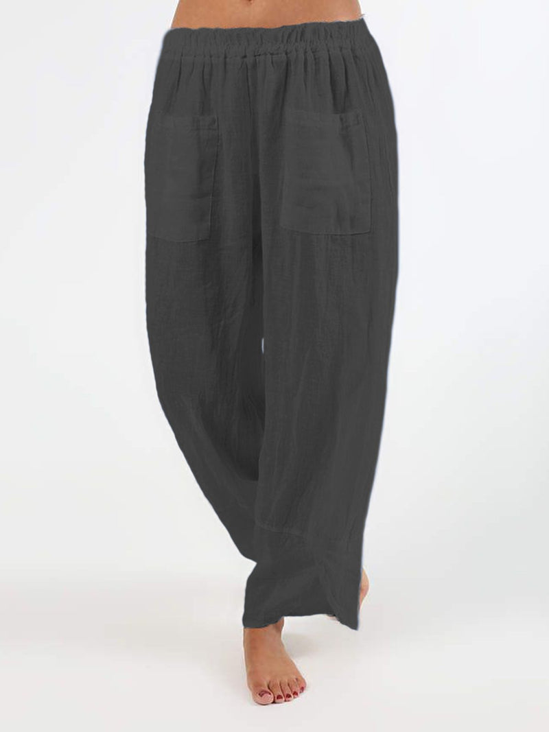 Plus Size Casual Solid Pockets Pants