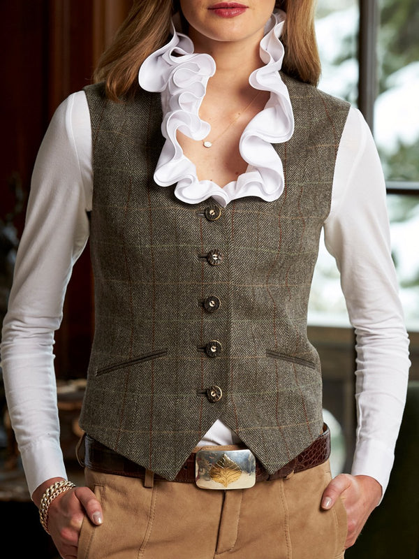 Gray Gingham Vintage Sleeveless Jackets