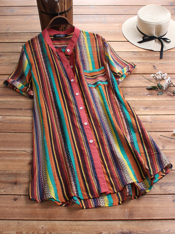 Plus Size Stripes Print Women Summer Shirts
