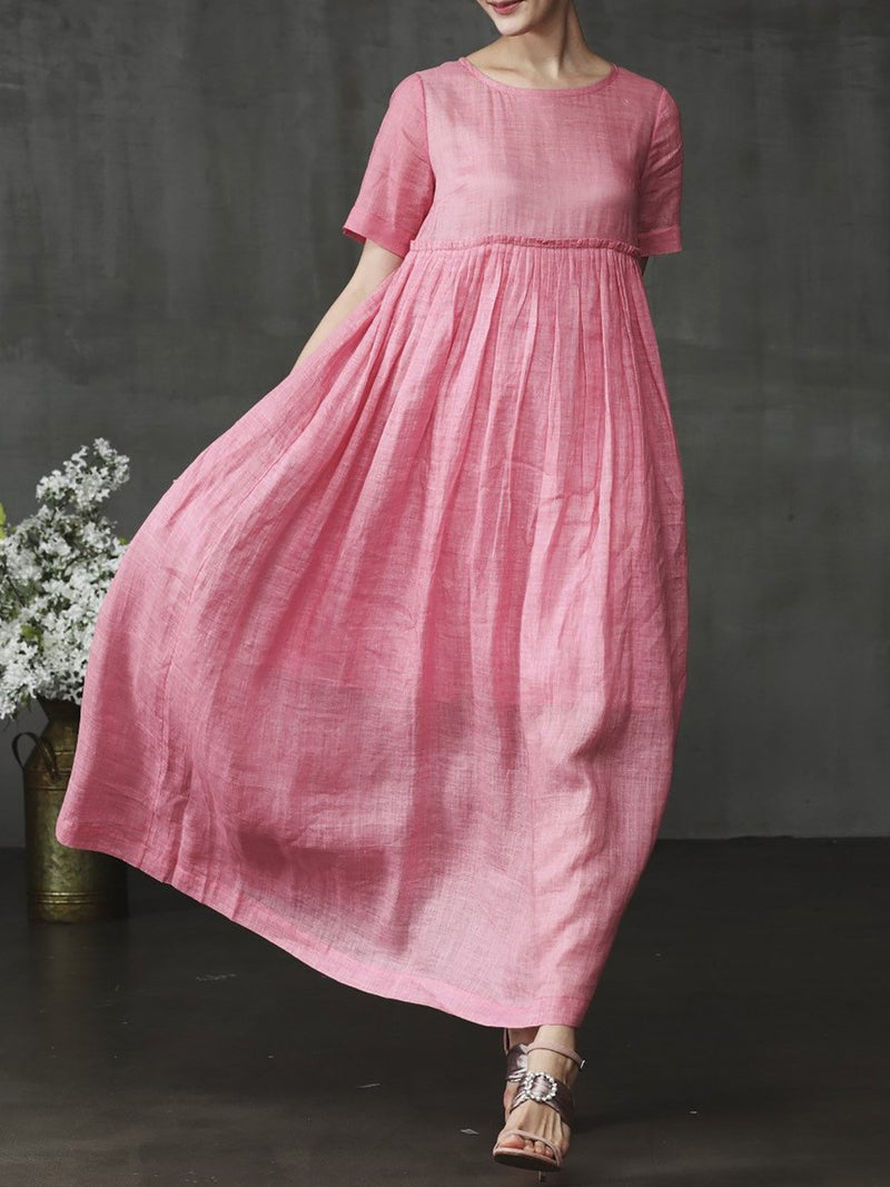 Women Shift Casual Short Sleeve Midi Dresses
