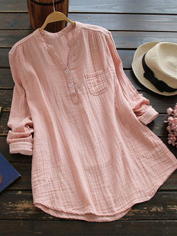 Women Fashion Long Sleeve T-Shirt V Neck Linen Casual Blouse Tops S-5XL