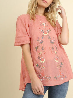 Floral Casual Short Sleeve Round Neck Shirts & Tops