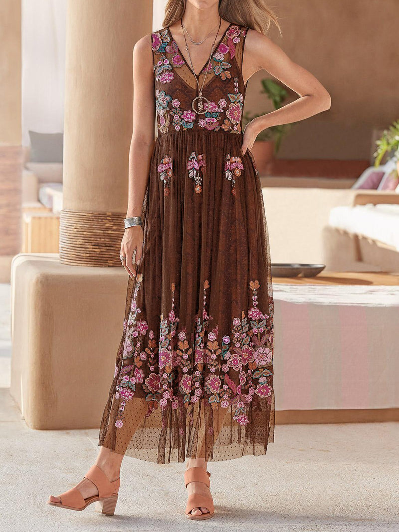 Women V Neck Floral Casual Sleeveless Dresses