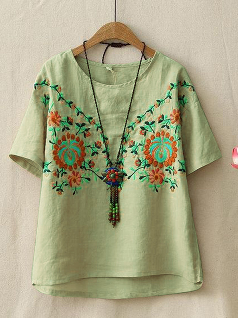 Women Half Sleeve Embroidered Cotton T-Shirts