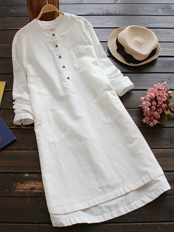 Women Vintage Long Sleeve Buttons Cotton Midi Shirt Dress