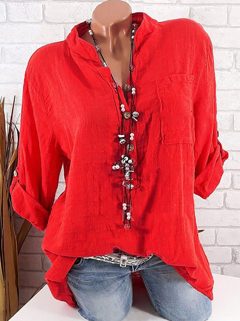 Long Sleeve Solid Color Stand Collar Blouse