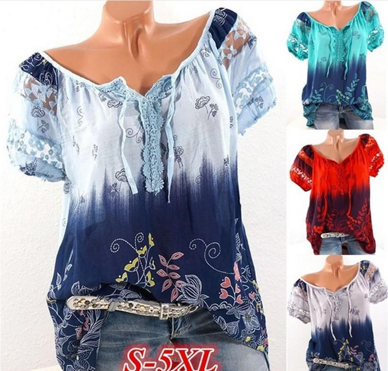 Women Cotton Short Sleeve Floral Print Tops for Summer