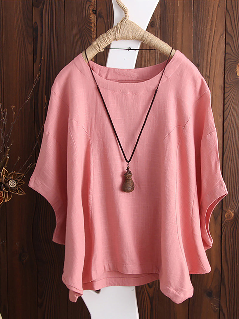 Women Cute Cotton Batwing Sleeve Crew Neck Tops