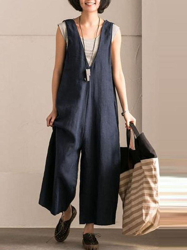 Plus Size Loose Vintage Jumpsuits Daily Casual Linen Pants