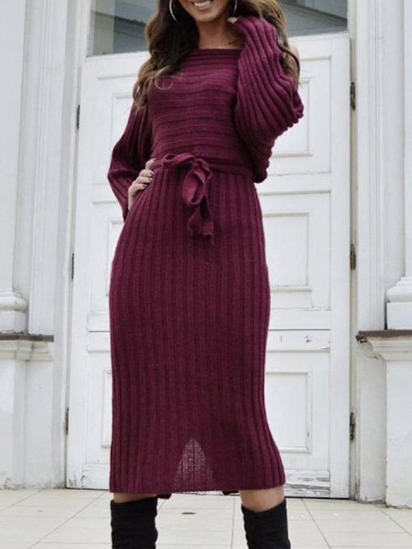 Long Sleeve One Shoulder Casual Sweater Dress