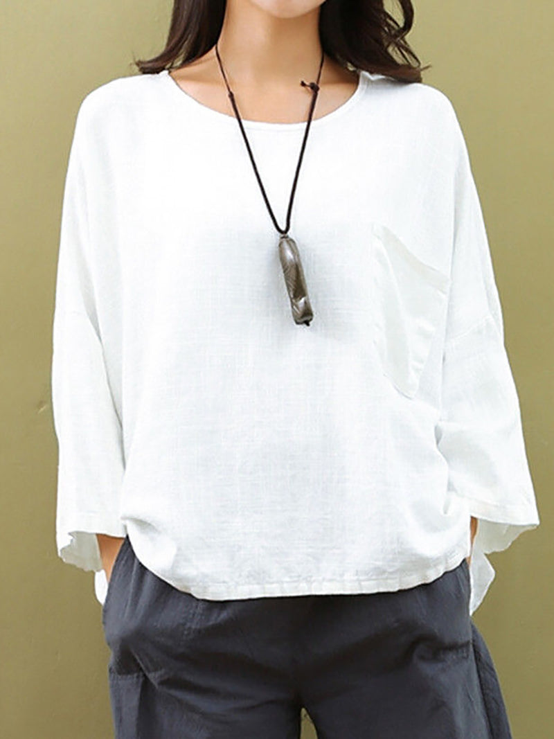 Crew Neck Casual 3/4 Sleeve Tops Solid Color Batwing Sleeve Cozy Blouses
