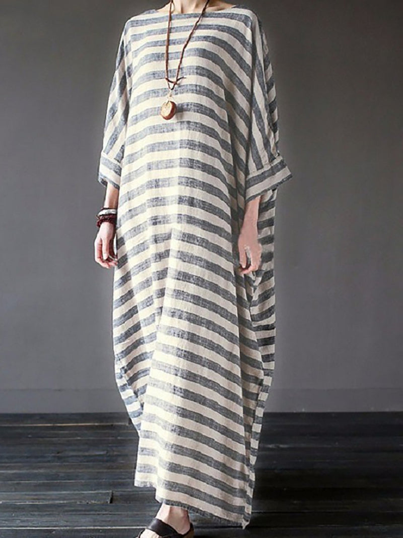 Long Sleeve Casual Cotton Loosed Stripped Crew Neck Maxi Dresses