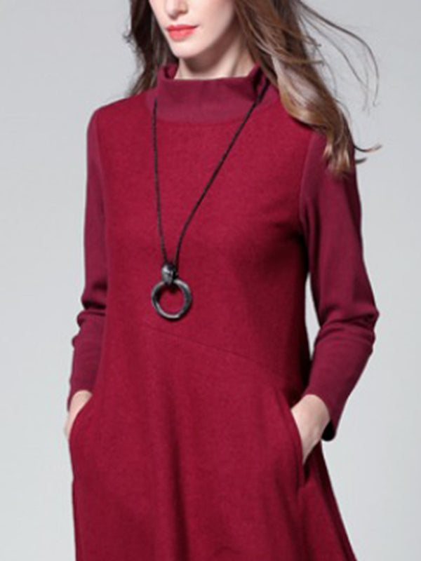 Stand Collar Burgundy Dresses Shift Daily Casual Dresses