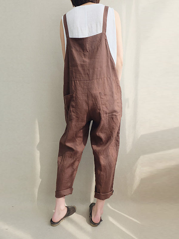 Women's Cotton Linen Jumpsuit Plus Size Romper Overalls Causal Pants