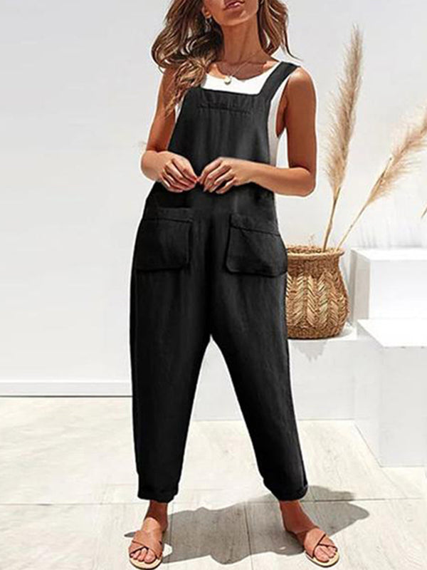 Women Casual Square Neck Pockets Spaghetti-Strap Suits