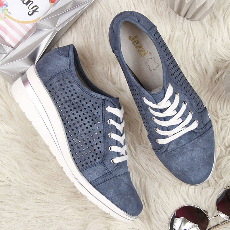 Women's Lace Up Hollow-Out Wedge Heel Sneakers