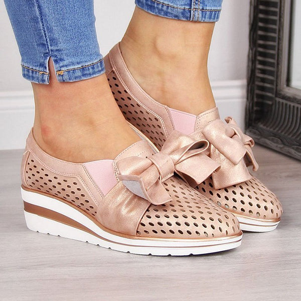 Bowknot Wedge Heel Wide Fit Slip-on Sneakers