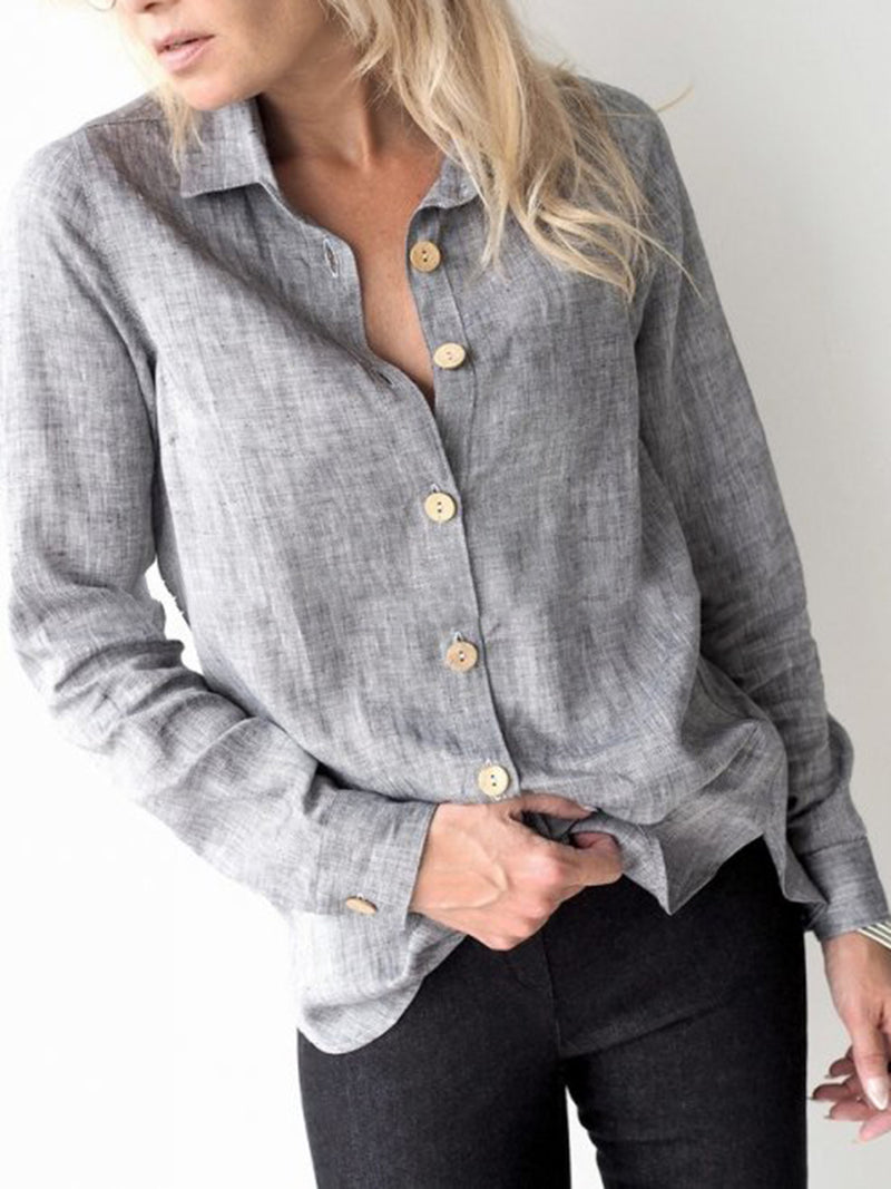 Button Pure Color Long Sleeve Plus Size Shirt