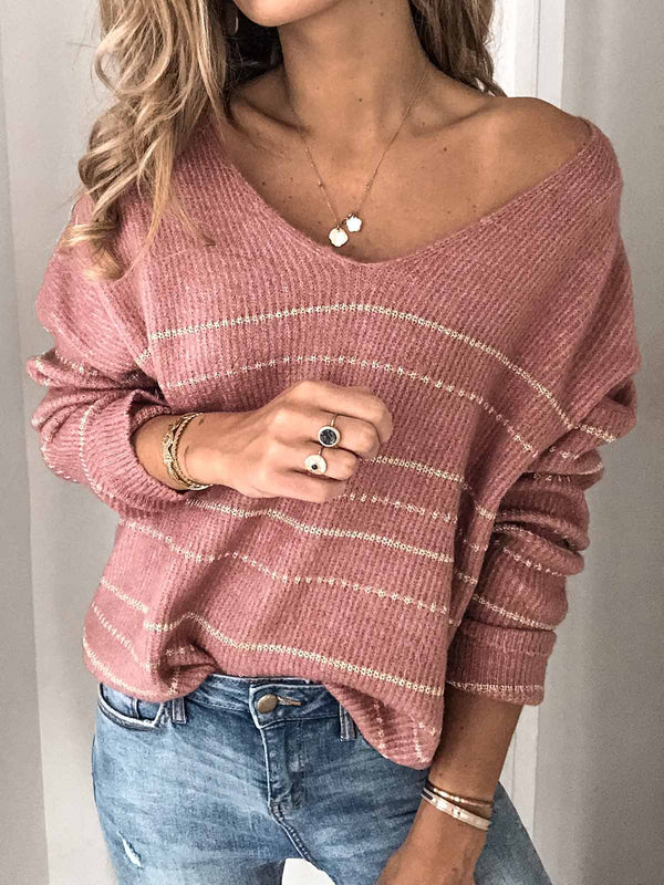 Striped Knitted Long Sleeve Sweaters