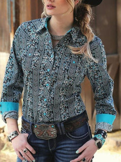 Light Blue Printed Long Sleeve Shirt Collar Shirts & Tops
