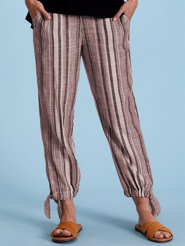 Linen Casual Striped Pants