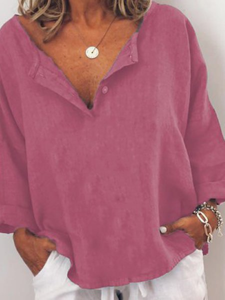 Long Sleeve Solid V Neck Casual Shirts & Tops