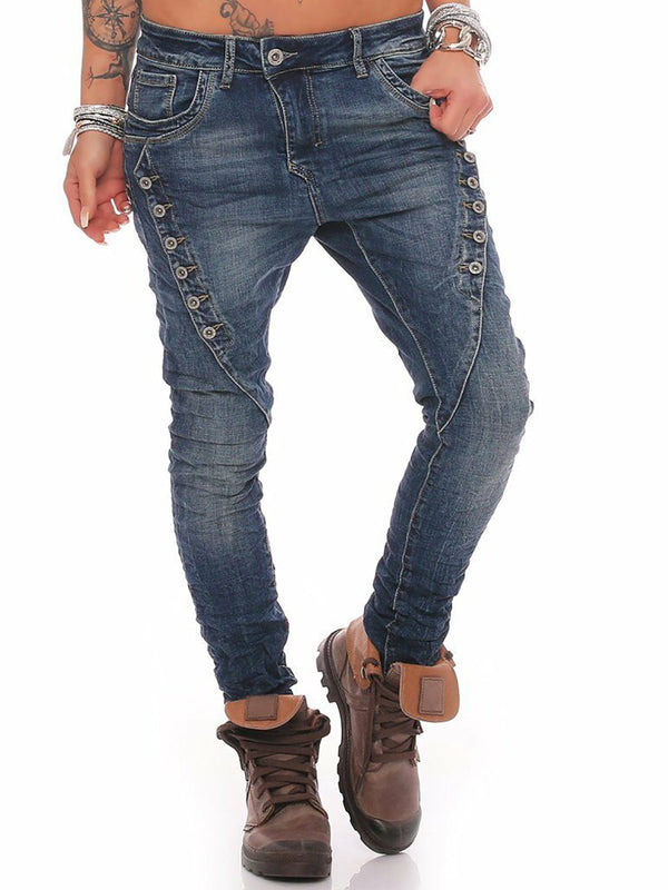Symmetrical Button Decor Plus Size Denim Pants Jeans