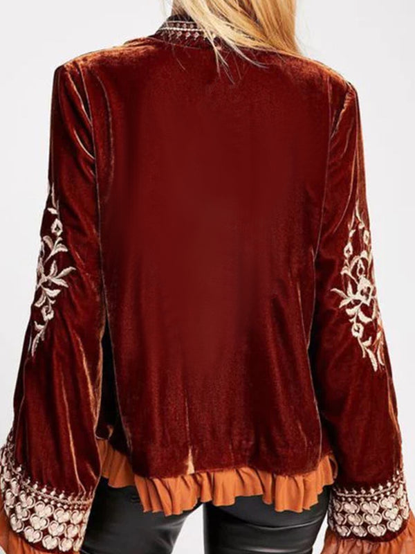 Red Velvet Long Sleeve Tops
