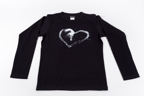 Agnés B Homme: Men's Long-Sleeve Bad Heart Tee / Black