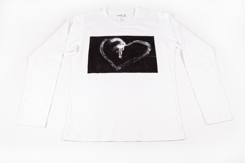 Agnés B Homme: Men's Long-Sleeve Bad Heart Tee / White