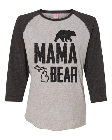 Ladies Mama Bear Baseball Tee