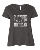 Love Michigan Curvy V-Neck