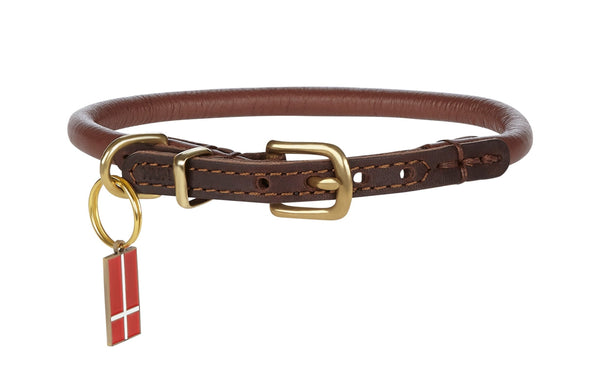 "Coat Protective ""BALDY"" Skinny Rolled Padded Leather Collar For Smaller Dogs"