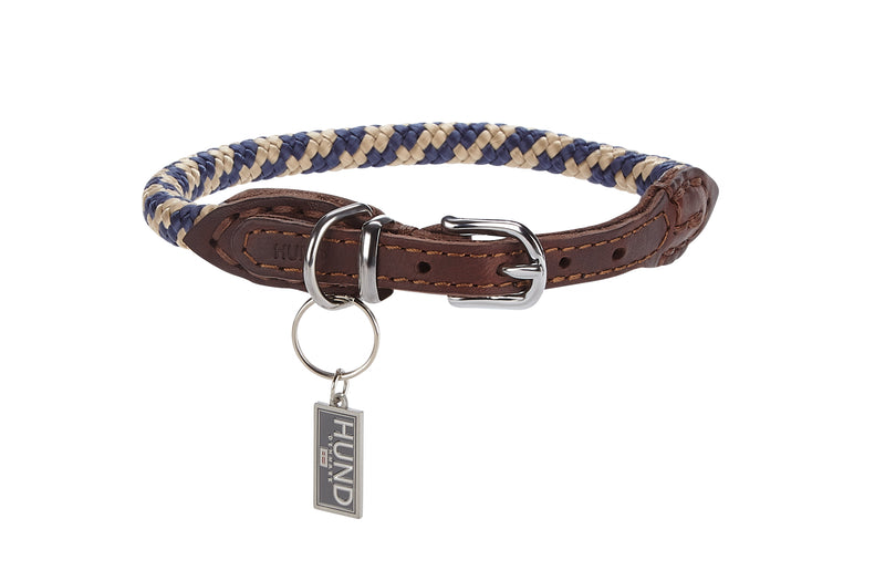 Navy and Cream Padded Dog Collar
