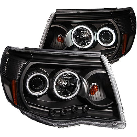 Anzousa 121282 Black Clear Projector Halo Headlight For Toyota Tacoma - (Sold In  Black 810169022115