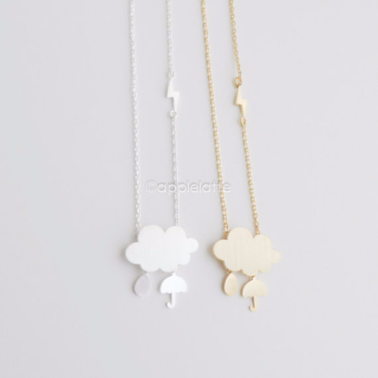 Cloud Necklace With Umbrella, Rain,Thunder Charms