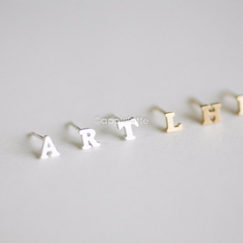 tiny single initial earring, initial earring, letter post, alphabet earring, personalized letter post _1 single earring