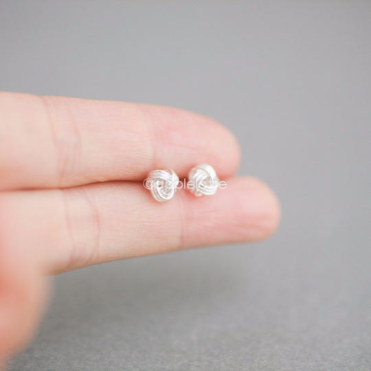 Love Knot Earrings in Sterling Silver 925, Tiny Knot Post, Ball Earrings, Tie The Knot Earrings, Bridesmaid Earrings, Simple Jewelry