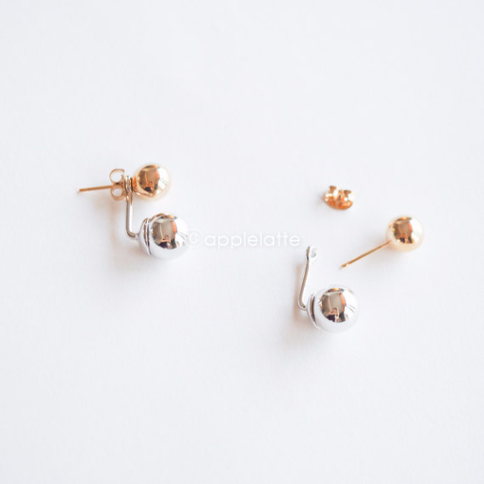 double ball studs, ball earrings, simple earrings, Double Earrings, ball post earrings, ball studs, gold and silver mixed earrings