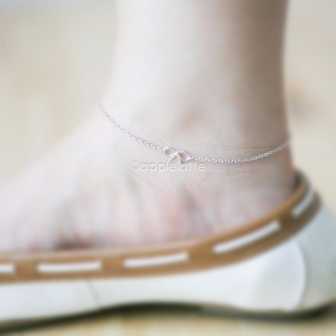 tiny small cute bow anklet