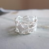 filigree lace ring in silver or gold, bridesmaid gift, feminine ring