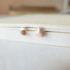 tiny crescent moon and star post earrings in gold or rose gold, moon and star earrings, pink star post, pink crescent earrings