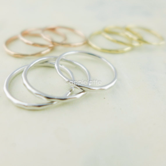 thin slim band, stackable ring, layering ring in gold, silver or rose gold