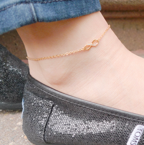 tiny infinity anklet