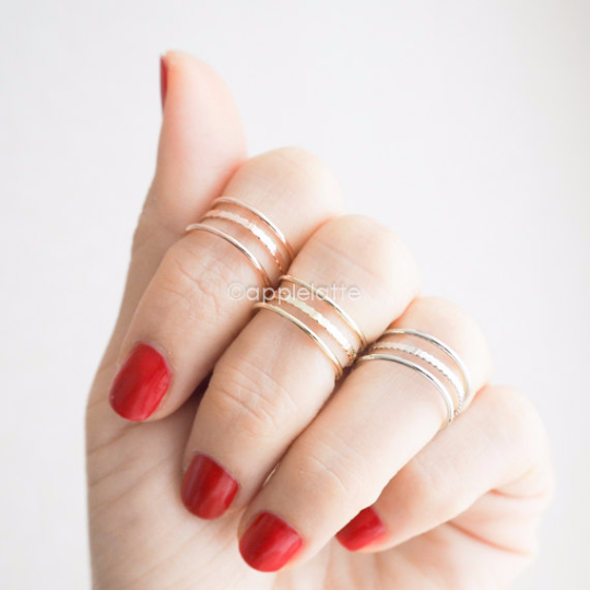 simple 3 line knuckle band, simple midi ring, knuckle ring, simple band in gold, silver or rose gold